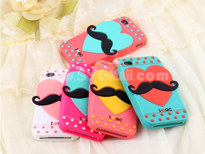 Lovely Heart with Beard Pattern Silicone Case for iPhone4/4s
