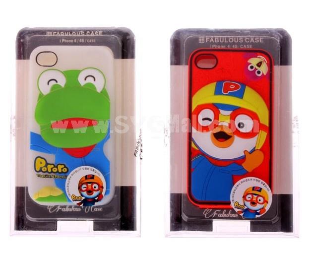 Cute Cartoon Figure Pattern Flexible Glue Case for iPhone4/4s