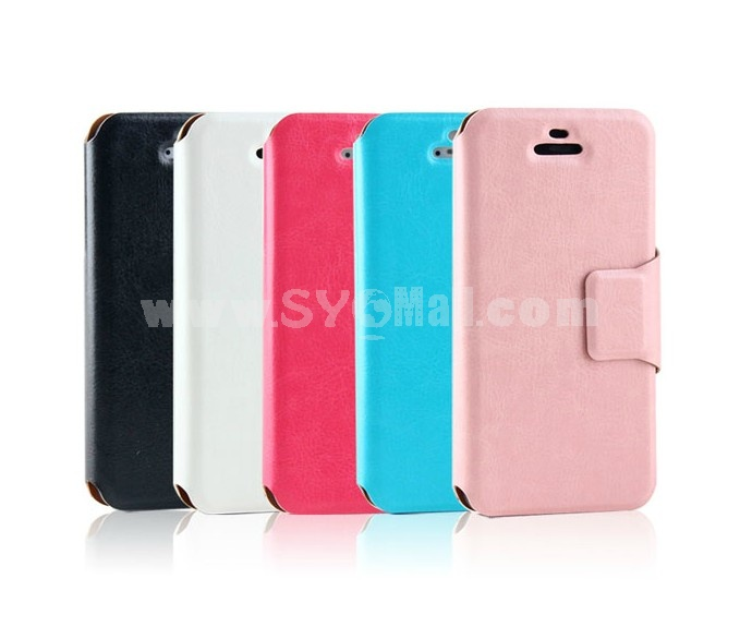 Simple PU Leather Pattern Case with Card Slot for iPhone5