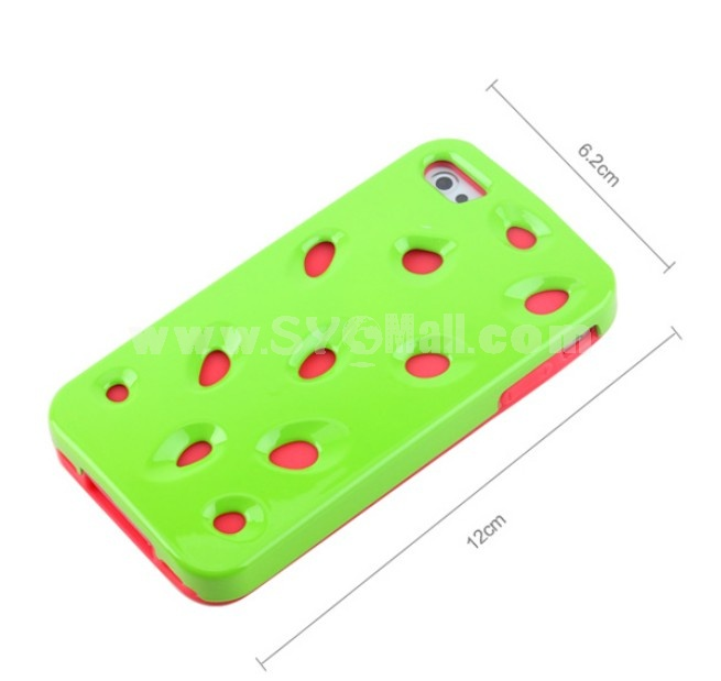 Lovely Watermelon Pattern Noctilucence Silicone & Hard Case for iPhone4/4s