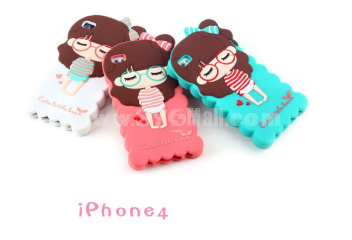 Lovely Girl Pattern Silicone Case for iPhone4/4s