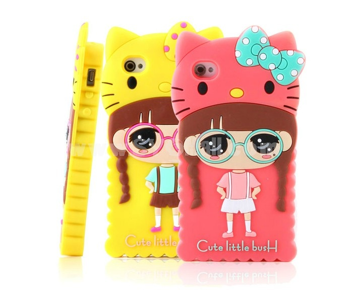 Lovely Girl with KT Hat Pattern Silicone Case for iPhone4/4s