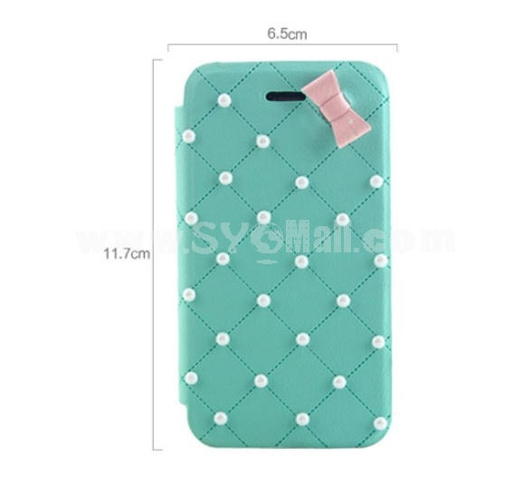 Lovely Pearl with Bowknot Décor Pattern PU Leather Case for iPhone4/4s