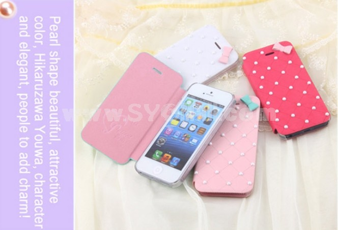 Lovely Pearl with Bowknot Décor Pattern PU Leather Case for iPhone5