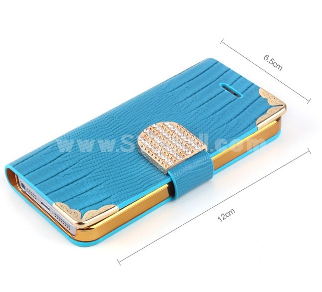 Elegant PU Leather Pattern Case with Rhinestone for iPhone5