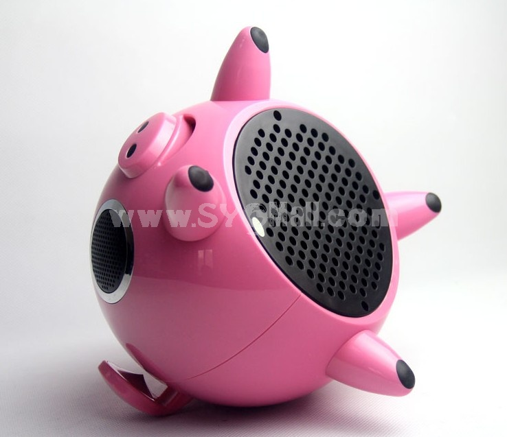 MoRuiQi Cartoon Pig Pattern Remote Control Subwoofer Multi SD Card Read Speaker