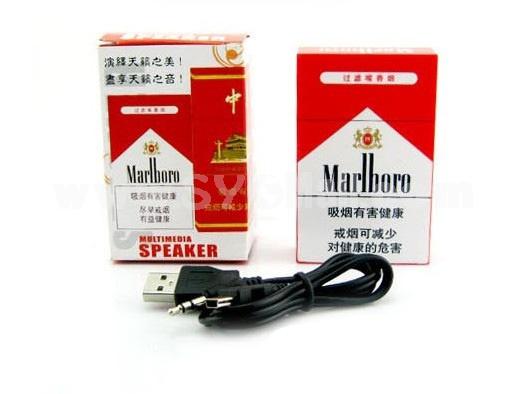 Creative Marlboro Cagarette Case Pattern Subwoofer Multi Card Read Speaker with FM Radio