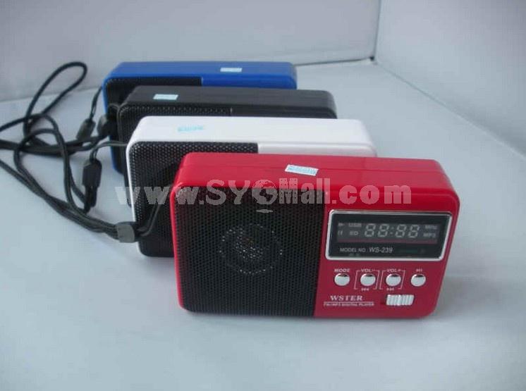 WS-239 Mini Portable Multi Card Reader Speaker with FM Radio