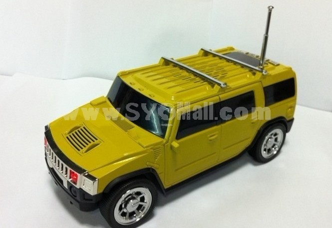 Stylish H2 Car Pattern Mini Portable Multi Card Reader Speaker with FM Radio