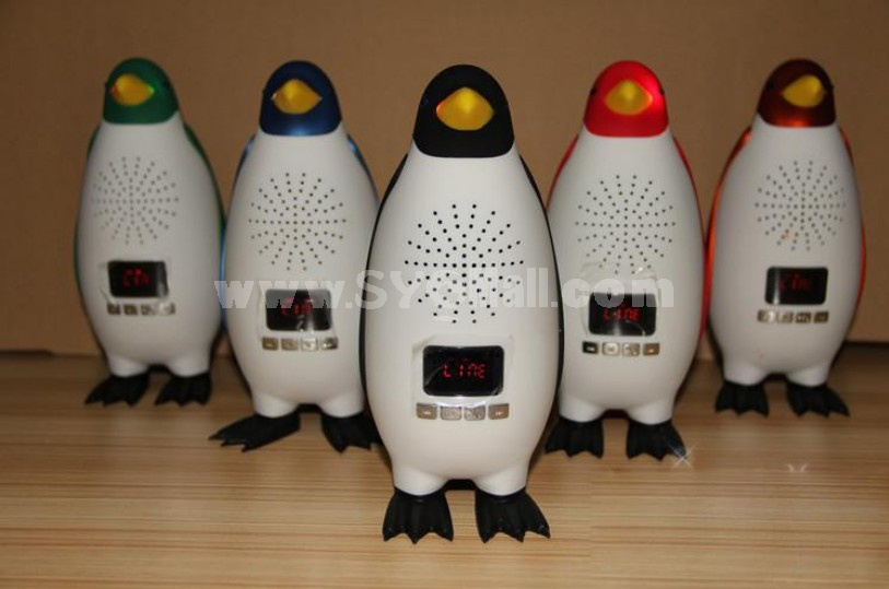 Stylish TY019 Penguin Pattern Mini Portable Multi Card Reader Speaker with FM Radio