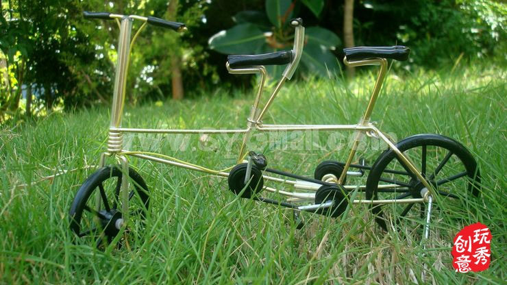 Creative Handwork Metal Decorative Bicycles with Two Seats/Brass Crafts