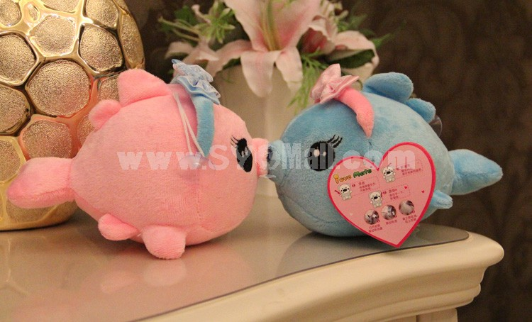 "18*13CM/7*5"" Cute Soft Couple Kissing Fish Plush Toys 2PCs"
