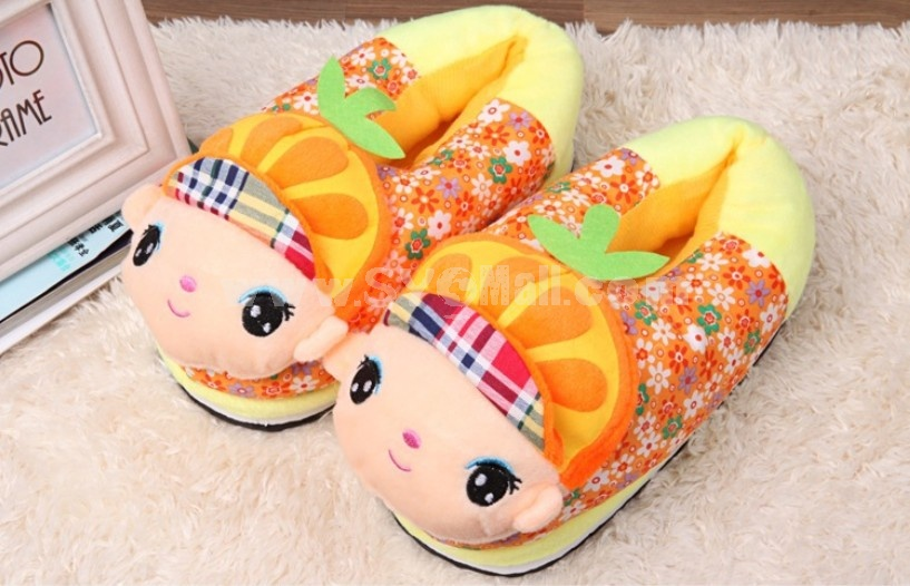 Hot Sale Cute Cartoon Fruits Style High-top Cotton Slipper