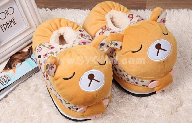 Floral Printed Cute Cartoon High-top Thickened Warm Cotton Slipper