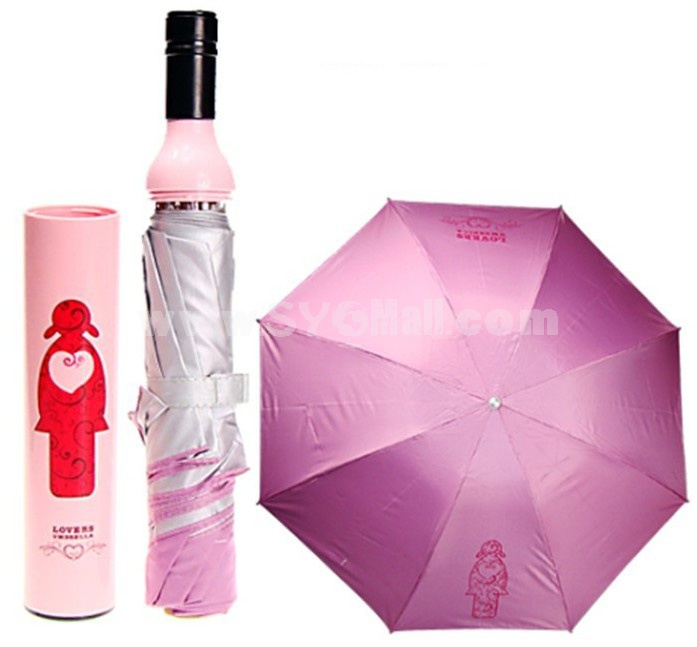 Creative Cute Wine Bottle Pattern Umbrella