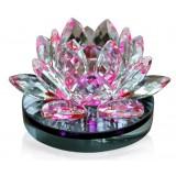 Wholesale - Gorgeous Sparkling Crystal Glass Lotus Flower Car Air Freshener/Perfume Décor Artware, Sapphire Yellow