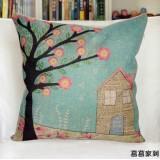 Wholesale - Decorative Printed Morden Stylish Tree Pattern Throw Pillow