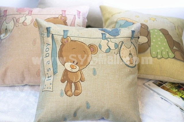 Decorative Printed Morden Stylish Pink Bear Style Throw Pillow