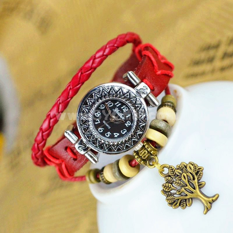 Retro Style Women's Hand Knitting Alloy Quartz Movement Glass Round Fashion Watch with Tree Pendant (More Colors)