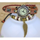 Wholesale - Retro Style Women's Hand Knitting Alloy Quartz Movement Glass Round Fashion Watcht (More Colors)