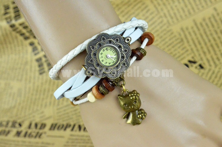 Retro Style Women's Hand Knitting Alloy Quartz Movement Glass Round Fashion Watch with Cat Pendant (More Colors)