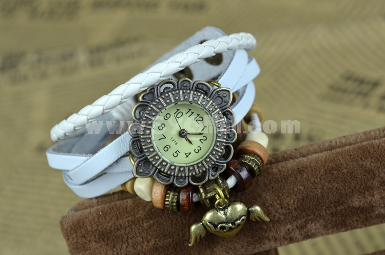 Retro Style Women's Hand Knitting Alloy Quartz Movement Glass Round Fashion Watch with Heart Pendant (More Colors)