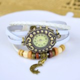 Wholesale - Retro Style Women's Hand Knitting Alloy Quartz Movement Glass Round Fashion Watch with Moon Pendant (More Colors)