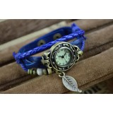 Wholesale - Retro Style Women's Hand Knitting Alloy Quartz Movement Glass Round Fashion Watch with Leaf Pendant (More Colors)