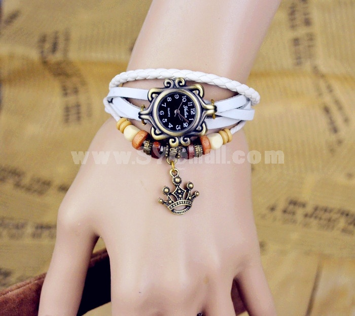 Retro Style Women's Hand Knitting Alloy Quartz Movement Glass Round Fashion Watch with Crown Pendant (More Colors)
