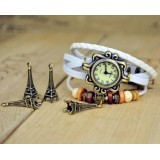 Wholesale - Retro Style Women's Hand Knitting Alloy Quartz Movement Glass Round Fashion Watch with Towel Pendant (More Colors)
