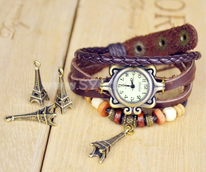Retro Style Women's Hand Knitting Alloy Quartz Movement Glass Round Fashion Watch with Towel Pendant (More Colors)