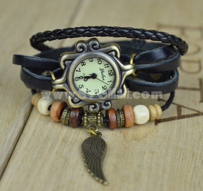 Retro Style Women's Hand Knitting Alloy Quartz Movement Glass Round Fashion Watch with Flying Wing Pendant (More Colors)