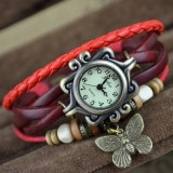 Wholesale - Retro Style Women's Hand Knitting Alloy Quartz Movement Glass Round Fashion Watch with Butterfly Pendant (More Color