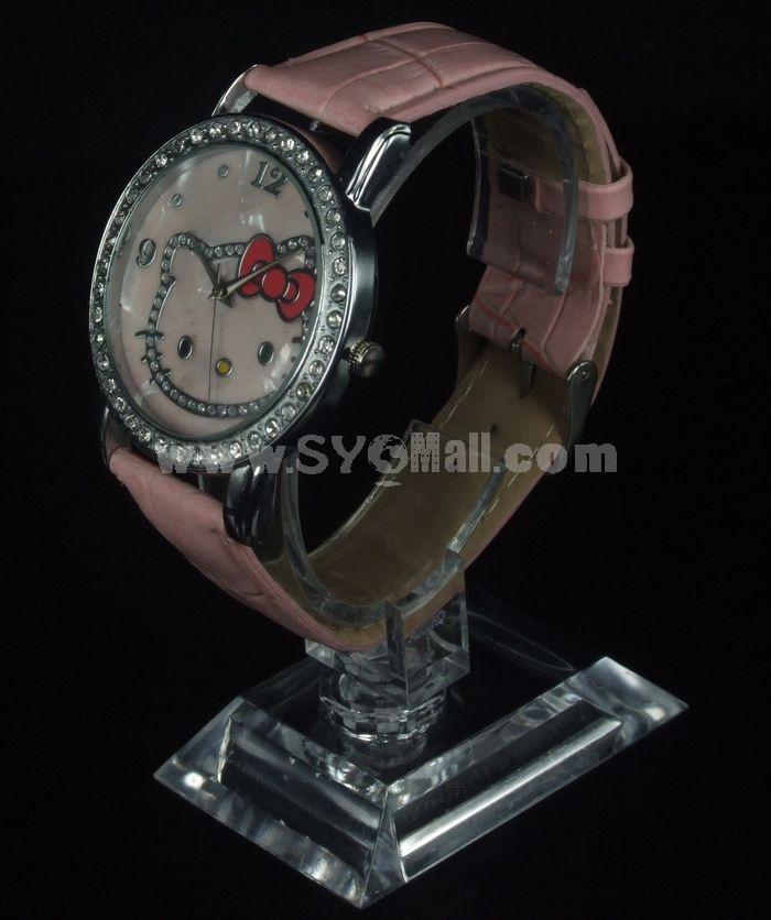 Retro Style Women's Pink PU Alloy Quartz Movement Glass Round Fashion Watch