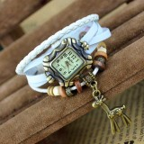 Wholesale - Retro Style Women's Hand Knitting Alloy Quartz Movement Glass Round Fashion Watch with deer Pendant (More Colors)