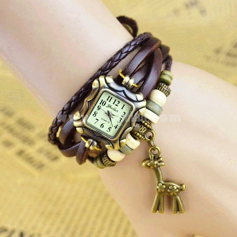 Retro Style Women's Hand Knitting Alloy Quartz Movement Glass Round Fashion Watch with deer Pendant (More Colors)