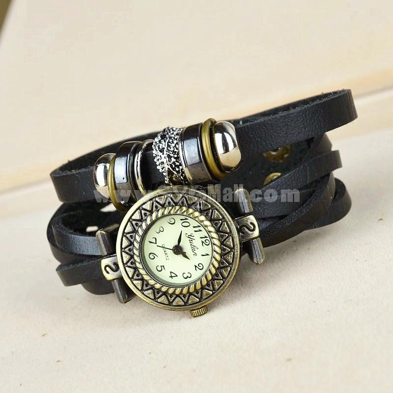 Retro Style Women's Hand Knitting Rivet Alloy Quartz Movement Glass Round Fashion Watch (More Colors)