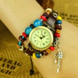 Wholesale - Cute Women's Hand Knitting Alloy Quartz Movement Glass Round Fashion Watch with Pendant