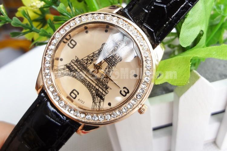 Retro Style Women's Alloy Quartz Movement Glass Round Fashion Watch with Rhinestone