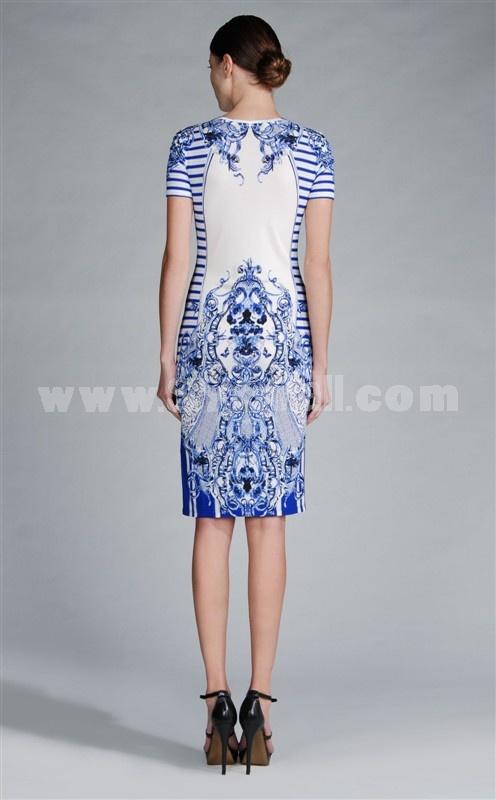 2013 New Arrival Printed Short Sleeve Lady Dress Evening Dress KC 106