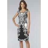 Wholesale - Black and White Printing Slim Dress Evening Dress 6277
