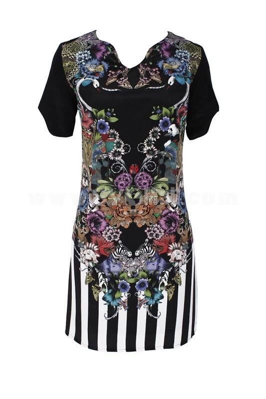 2013 New Arrival KM Lion Printing Short Sleeve Lady Dress Evening Dress KL142