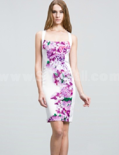 BCBG2013 New Arrival Square-cut Collar Printing Lady Dress Evening Dress CD098