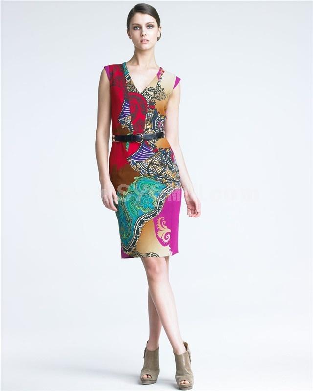 2013 New Arrival V-neck Sleeveless Slim Dress Evening Dress