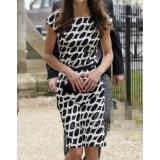 Wholesale - Short Elegant Printing Sleeve Slim Dress Evening Dress