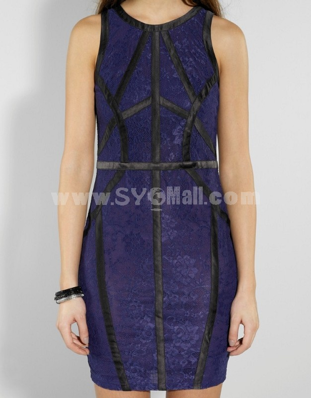 2013 New Arrival Lace Joint Simple Slim Dress Evening Dress KM011