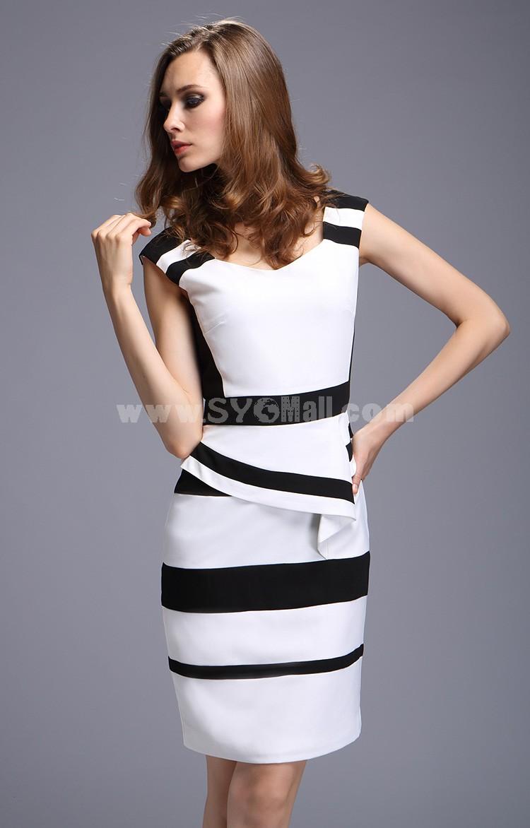 KM 2013 New Arrival Polo Collar Printing Slim Dress Evening Dress KM201
