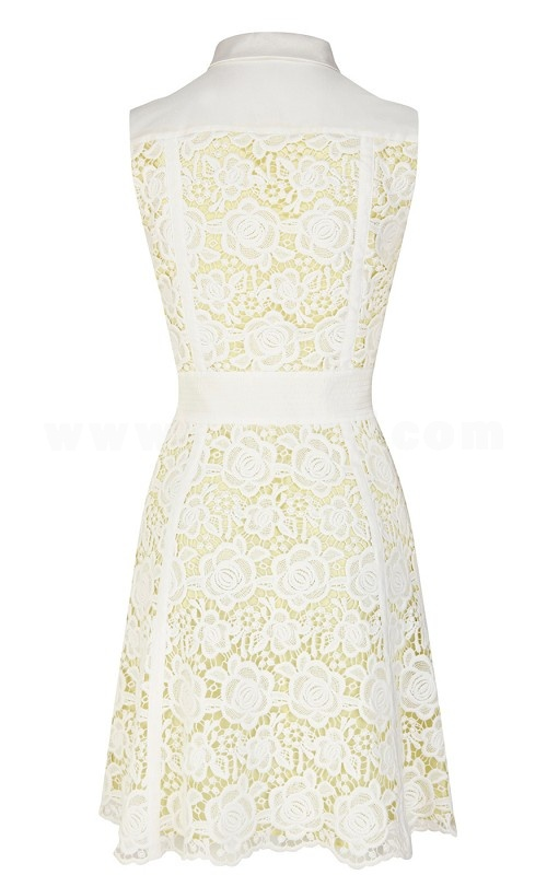 KM 2013 New Arrival Polo Collar Sleeveless Lace Slim Dress Evening Dress DQ241