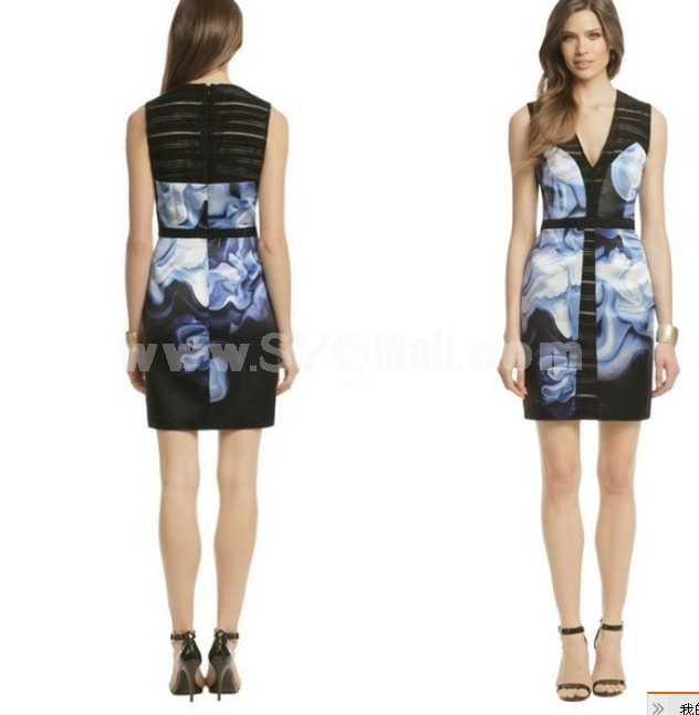 BCBG2013 Fashion V-neck Sleeveless Slim Dress Evening Dress CD093