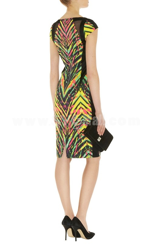 2013 New Arrival Colorful Printing Round Neck Slim Dress Evening Dress DQ097